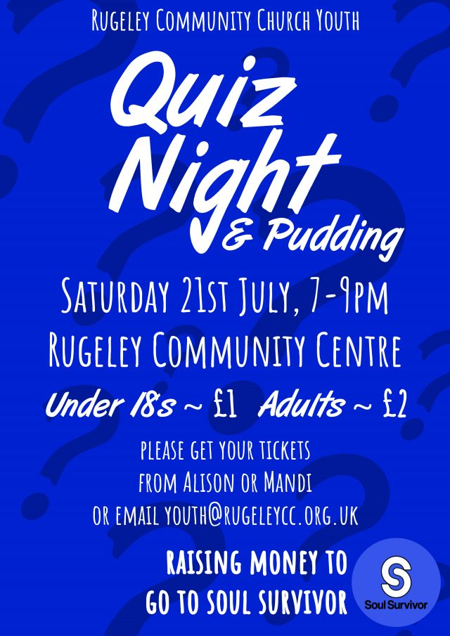 RCC Youth Quiz Night Poster